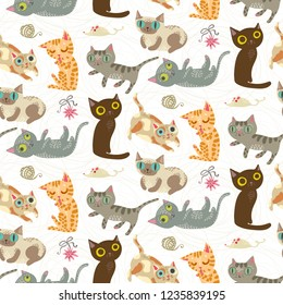 Seamless pattern with funny crazy cats. Cute kitty illustration