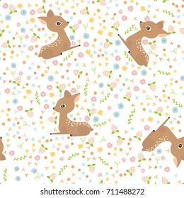Seamless pattern with funny cute little deer and flowers on a white background. Children vector illustration in flat design.