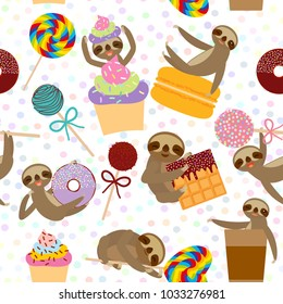 seamless pattern funny and cute smiling Three-toed sloth collection with pink cake pops, donut, lollipop, coffee, waffle, macaroon, sprinkles on white background. Vector