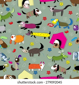 Seamless pattern with funny dogs.