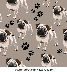 Seamless pattern with funny dogs. Abstract seamless pattern on brown background with cartoon character of Pug puppy. Creative funny repeated backdrop. background for fashion textile, wrapping paper