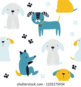 Seamless pattern with funny dogs. Kids cute print. Vector hand drawn illustration.