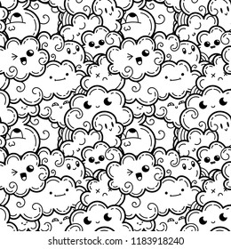 Seamless pattern with funny doodle clouds for prints, designs, cards and clothes. Vector kawaii illustration for coloring pages and books