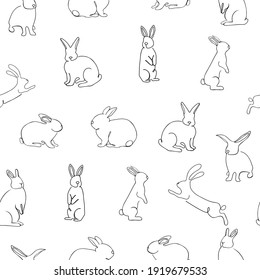 Seamless Pattern of funny Easter Rabbit isolated on white. Simple Outline Vector Illustration.