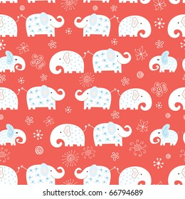 seamless pattern of funny elephant