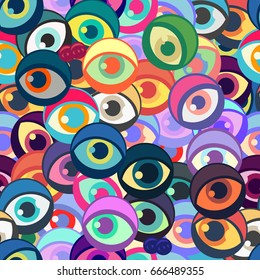 Seamless pattern with funny eyes. Vector illustration for design of wallpaper or fabric.