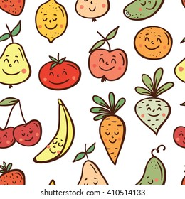 Seamless pattern with funny fruits and vegetables. Vector cute fruits and vegetables concepts and icon