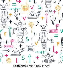 Seamless pattern with funny hand drawn robots and different items. Sketch illustration. Vector.