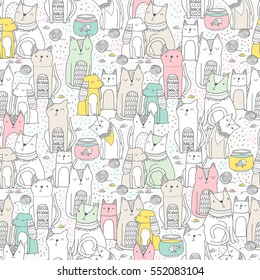 Seamless pattern with funny hand drawn cats and spaniel dogs. Animals vector illustration with adorable pets. Tillable background for your fabric, textile design, wrapping paper or wallpaper.