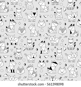Seamless pattern with funny hand drawn origami cats. Animals vector illustration with adorable kittens. Tillable background for your fabric, textile design, wrapping paper or wallpaper.