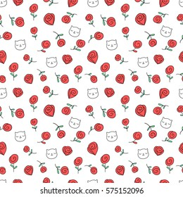 Seamless pattern with funny hand drawn doodle cats and roses. Animals illustration with adorable kittens, red flowers. Tillable background for your fabric, textile design, wrapping paper or wallpaper.