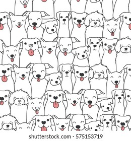 Seamless pattern with funny hand drawn dogs. Animals vector illustration with adorable pets. Tillable background for your fabric, textile design, wrapping paper or wallpaper.