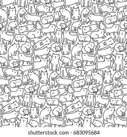 Seamless pattern with funny hand drawn cats. Animals vector illustration with adorable pets. Tillable background for your fabric, textile design, wrapping paper or wallpaper.
