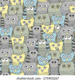 Seamless pattern with funny owls in cartoon style. Vector illustration in gloomy colors.