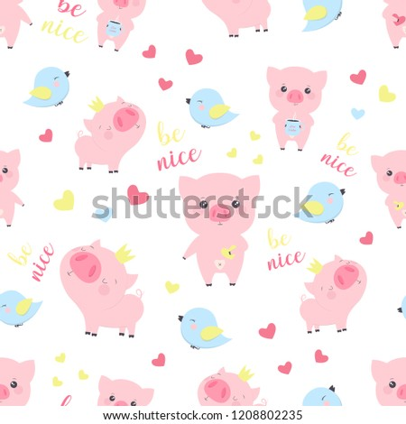 seamless pattern with funny pigs elements for the design of the new year wallpapers