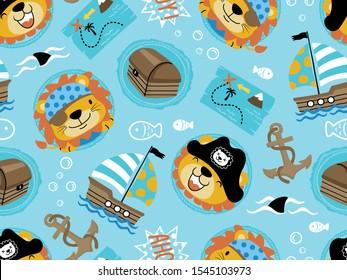 seamless pattern of funny pirate theme set cartoon