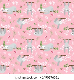 Seamless pattern with funny sloths hanging on the tree includes flowers and leaves. Adorable cartoon animal background. Vector forest set of cute animals perfect for fabric, textile, paper.