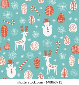 Seamless pattern with funny snowmen and reindeers for winter and christmas theme. Vector illustration.