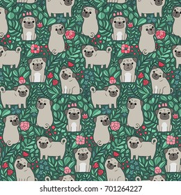 Seamless pattern with funny Swedish folk cartoon cats, birds and flowers. Tile background for your design, fabric textile, wallpaper or wrapping paper. Ethnic animals and plants.