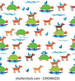Seamless pattern with funny turtles, dogs and birds for kids textiles, wallpapers, gift wraps and scrapbook. Vector.