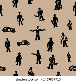 Seamless pattern with gangsters and vintage car silhouettes. Grunge print drawn by hand. Simple vector illustration.
