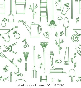 Seamless pattern with garden tools. Isolated working equipment on white background.