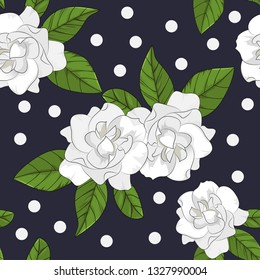 seamless pattern of gardenia flower with leaf on white background in vector