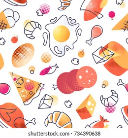 Seamless pattern with gastronomy icons, vector cuisine and fast food cafe bright background for menu, receipts.