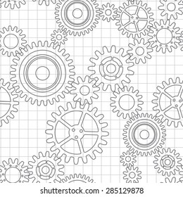 Seamless pattern of gear wheels, black on white checkered background