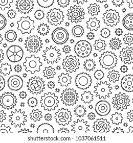 Seamless pattern with gears. Black and white thin line icons