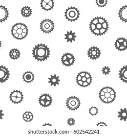 Seamless pattern of gears. Gears on a white background. Vector illustration.