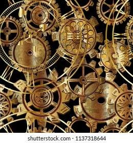 Seamless pattern with gears and watches in the style of steampunk. Vector illustration.