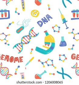 Seamless pattern. Genetic Engineering. Genome research. Genome sequencing. Helix DNA, microscope, chromosome, test tubes, DNA analysis. Medical theme for a poster, article, banner, advertising.