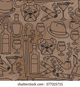 Seamless pattern for gentleman's club, vector illustration