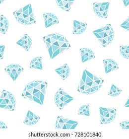 Seamless pattern of geometric blue diamonds on white background. Trendy hipster crystals design. illustration.