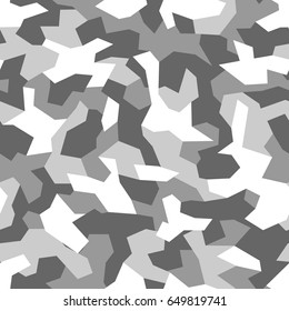 Seamless pattern with geometric camouflage. Abstract military grey and white background.