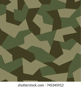 Seamless pattern with geometric camouflage. Abstract military green background.