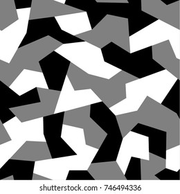 Seamless pattern with geometric camouflage. Abstract military monochrome black and white background.