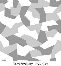 Seamless pattern with geometric camouflage. Abstract military monochrome light background.