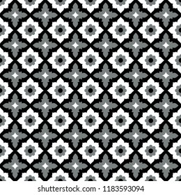 Seamless pattern geometric ceramic tile design with floral ornament