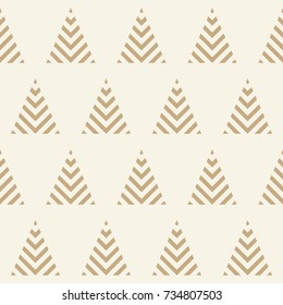 Seamless pattern with geometric Christmas trees. Winter holidays collection. Merry Christmas and Happy New year. Abstract textured background design. Modern elegant wallpaper. Vector illustration.