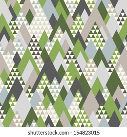 Seamless pattern with geometric forest mountains