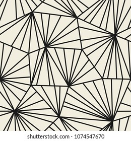 Seamless pattern with geometric grid of triangles. Abstract modern linear monochrome background. Stock vector illustration.