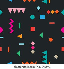 seamless pattern Geometric multicolored figures square, triangle, circle. hipster, memphis, flat style for fashion, cloth, textile.
