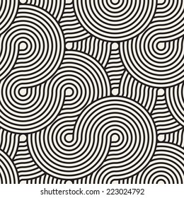 Seamless pattern. Geometric ornament. Stylish background with monochrome striped loopy tape. Vector repeating texture