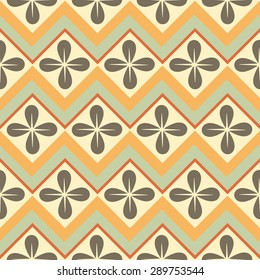 Seamless pattern with geometric shapes in 70s style. Vector pattern for web, print, wallpaper, home decor, textile, wrapping paper, fabric and invitation backgrounds.