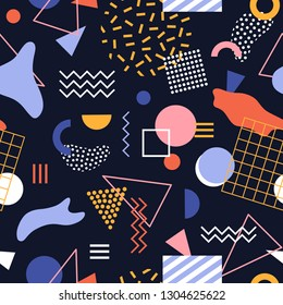 Seamless pattern with geometric shapes, stains, zigzag lines and dots on black background. Modern abstract backdrop. Vector illustration in Memphis style for wrapping paper, wallpaper, fabric print.