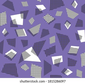 Seamless pattern of geometric shapes in violet purple black white with dot elements, graphic geometric abstract minimal retro vintage, sweet happy kids background illustration in vector