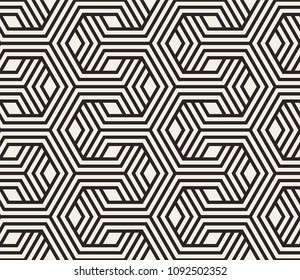 Seamless pattern with geometric stripped shapes. Stylish monochrome texture. Abstract background for textile, wrapper, wallpaper etc