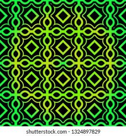 Seamless Pattern With Geometric, Triangle, Zig Zag. Vector Background, Texture. For Design Invitation, Interior Wallpaper, Cover Card, Technologic Design. Green black color.